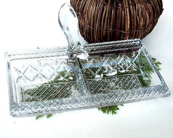 Vintage Relish Tray with Separated Compartments and Serving Handle. Molded Pattern Glass,Thanksgiving  I Take CREDIT CARDS