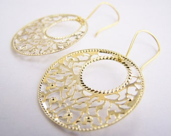 Summer in the Hamptons - FREE SHIPPING WAI - Golden Filigree Hoops - affordable gifts - beach inspired treasures
