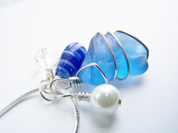 Gran Piedra - Natural Blue SEAGLASS with interchangable charms - FREE shipping wai - 4 in 1 Necklace- with several ways to wear
