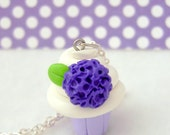 Miniature Cupcake Necklace. Polymer Clay. Purple