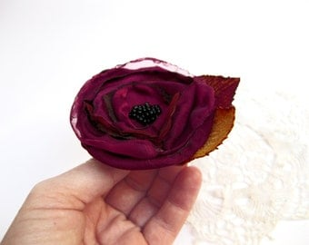 Burgundy fabric flower brooch, Gift for her, Red rose dress pin