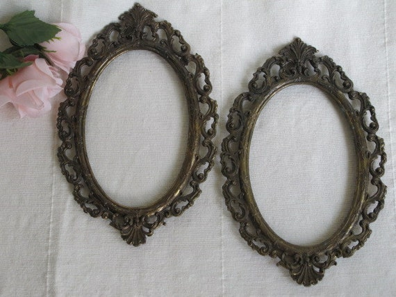 Pair Ornate Scrolled Baroque Italian Metal Picture Frames 1960s
