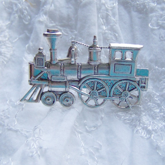 Train Tie Bar - Steampunk - Steam Locomotive - Tie Clasp - Antique Silver - Steam Engine