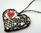 Black Fishnet Steampunk Valentine Pottery and Fiber Knotted Necklace Heart of Heart