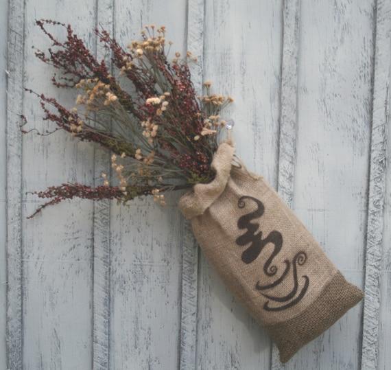 Burlap bag flower arrangement burlap coffee decor coffee for Burlap sack decor