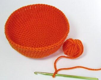 Pumpkin Orange Rug Yarn Bowl Poppy Crochet Basket Medium Storage Pot Organizer Summer Home Décor Jute Texture Spiral Design Handmade