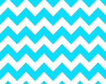 SALE - Riley Blake - Medium Chevron in Neon Blue