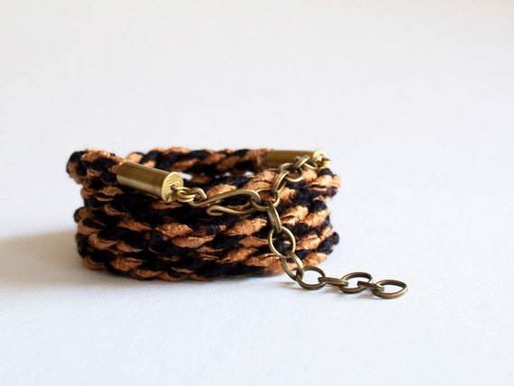 SALE - LAST ONE Braided wrap bracelet - rusty black
