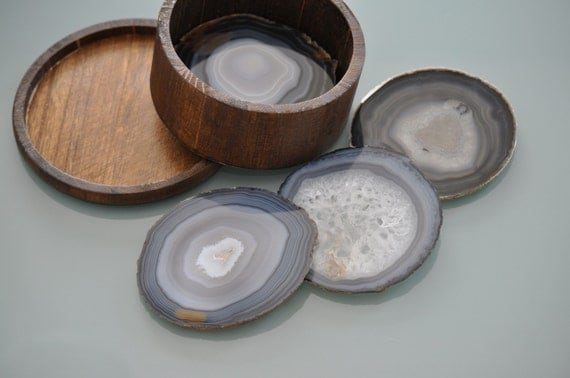 ON HOLD - Agate Coaster Sets - Eight Agate Slabs with  Decorative Wood Storage Containers