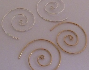 Unisex Jewelry Ear Spiral Sterling Silver or 14KT Gold Filled Metal Choice