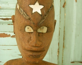 Vintage Carved Tribal Man - 1940's Antique - South Pacific - WWII - World War Two - Rare Ooak - Standing - Primitive - Rustic Home Decor