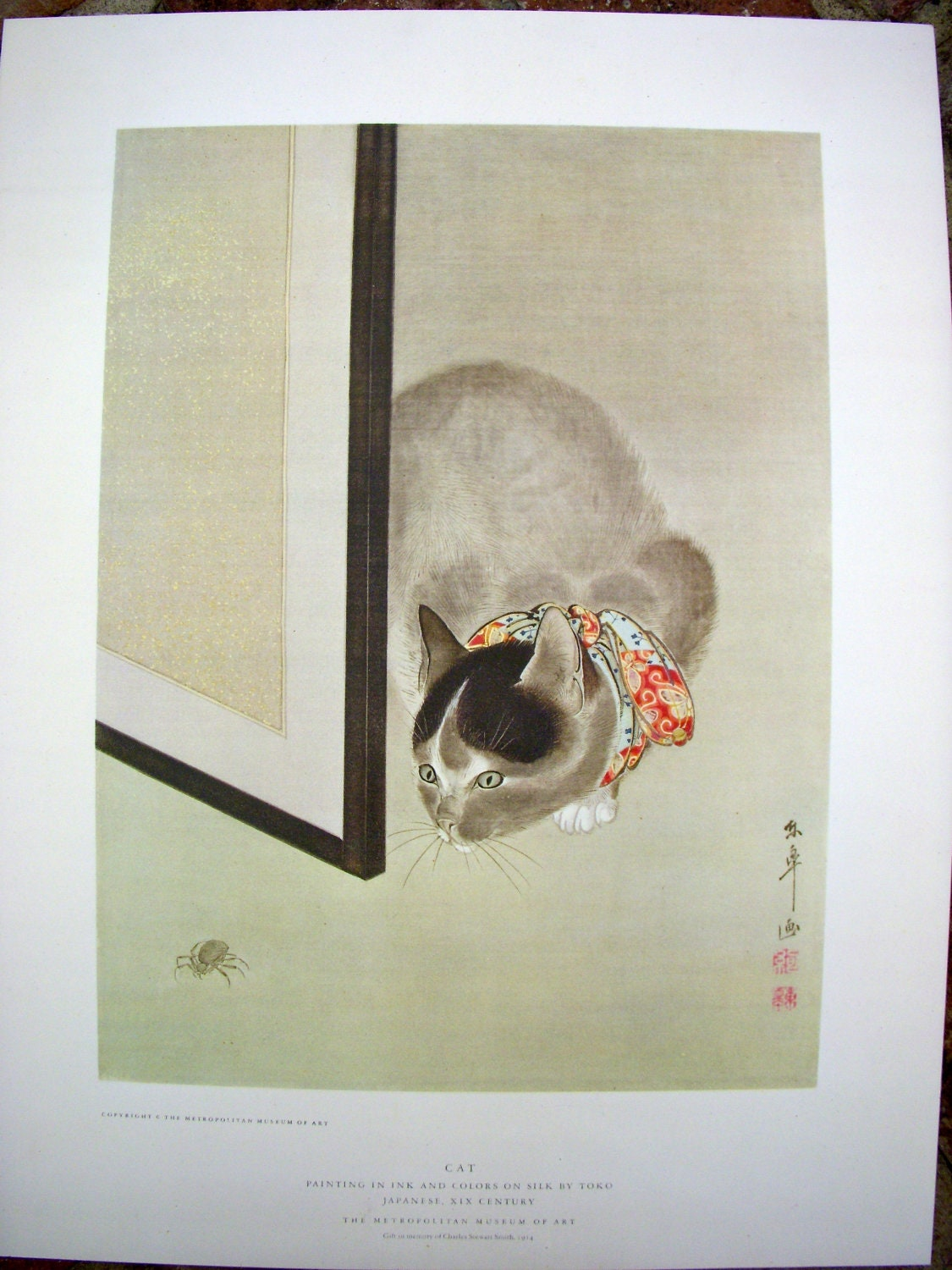 Vintage Japanese Print Poster Cat With Spider By