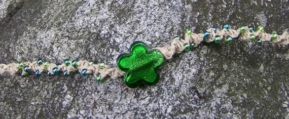 SALE - Handmade Hemp Jewelry - Green Glass Flower Hemp Necklace by FireGoddess Glass on Etsy- Free Shipping