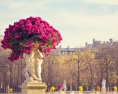 Paris Photography, Paris Flower Print, Paris Decor, Spring Bright Pink Flowers, Luxembourg Gardens, Floral Photography Art Gift for Her