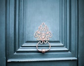 Paris Photography, Paris Blue Door Knocker Photograph, Rustic Minimalist Travel Decor, France Art Print, Wanderlust Decor - Feeling Blue