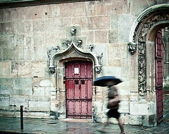 Paris Print, Paris in the Rain, Paris Photography, Paris Decor, Cluny, Umbrella, Red Door, Home Decor, Rainy Weather - Gothic Rush