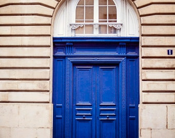 Paris Decor, Beautiful Deep Blue Door, Paris Photography, Color Photo, French Home Decor Print, Royal Indigo Blue Doors - Bluebird