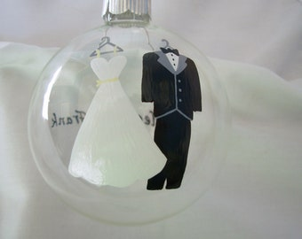 Wedding Christmas Ornament Handpainted Personalized