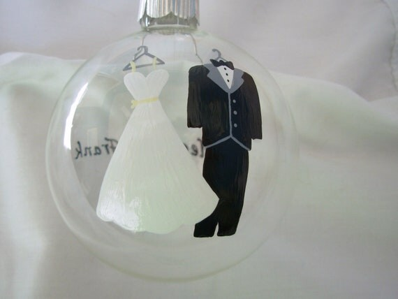 Wedding Christmas Ornament Handpainted Personalized, bride and groom, painted ornament wedding ornament