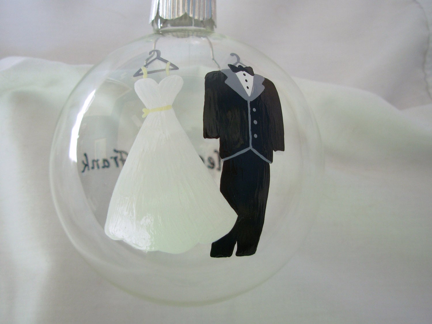 Hand Painted Wedding Ornament Bride and Groom Ornament