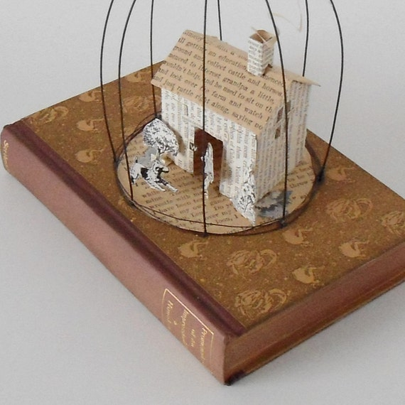 Altered Book Mixed Media - House with Girl and Terrier Puppy