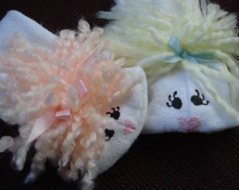 Set of Two  Girl Sock Puppets blond and peach yarn hair  from Puppets by Margie