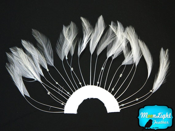 Feather pad, 1 Piece - WHITE Half Beaded Pinwheel Stripped Rooster Hackle Feather Pads : 1473