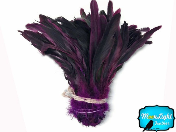 Purple Rooster Feathers, 1/2 Yard - PURPLE Half Bronze Coque Tail Strung Wholesale feathers (bulk) : 3121