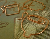 Hand Forged Copper Coffee Mug or Tea Cup Trio Pendants, Charms or Embellishments Quantity 3