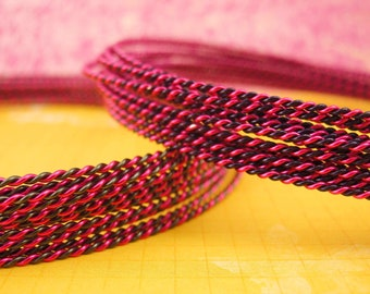 18 gauge Twisted  Wire - Fuchsia and Purple or Hematite Any Two Colors - 10 Feet - 3 Meters  100% Guarantee