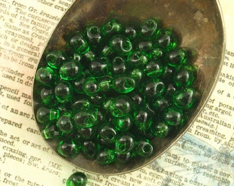 Transparent Green Glass Fringe Beads or Beads and Jump Rings  - Great Price!