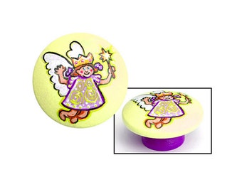 Yellow and Purple Knob with Magical Fairy Princess & Wand