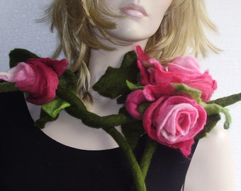 Festival Raspberry  Pink Rose Felted Flowers Bouquet Necklace Scarf
