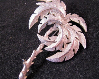 Palm Tree Brooch Silver Plated 1960s Vintage Costume Jewelry Jewellery