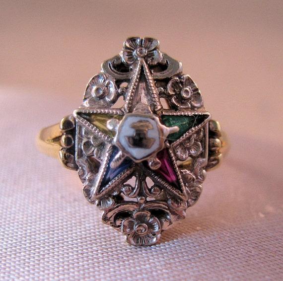Vintage 14K Solid Gold Eastern Star Genuine Jeweled Ring Sz 8 Antique 3.7g