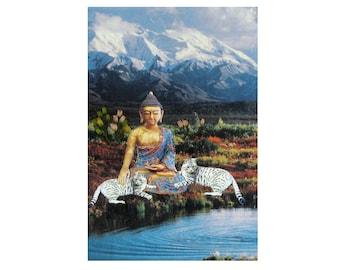 cat,pet portrait, pet collage,buddha,blue,cat art, home decor, shabby chic,peaceful,animal art,tagt team