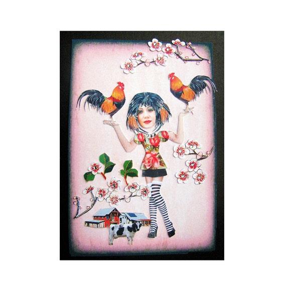 rooster, animal art, farm, shabby chic, home decor, custom pet, tagt team, woman, rural art, pin