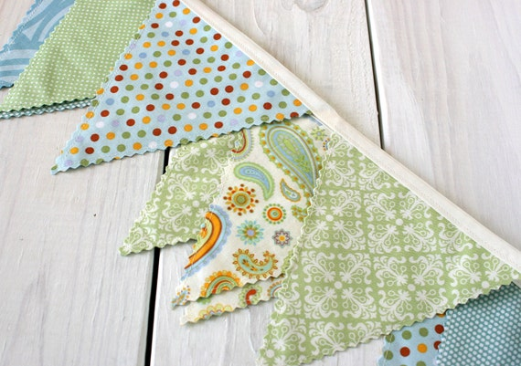 Bunting Banner,Fabric Flags, Baby Nursery Decor, Birthday Decoration, Photography Prop - Mint Green, Baby Blue, Paisley - Ready To Ship
