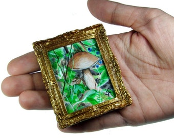 Miniature Original Acrylic Painting -Free Mushroom- NOT A PRINT- Collectable Art- Forest Green- Dollhouse Furniture Gold Frame