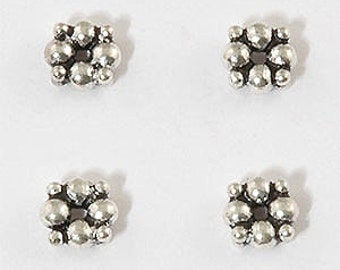 Solid Sterling Silver 6mm Bali Daisy Spacers, Double Thickness, (10 Spacers)