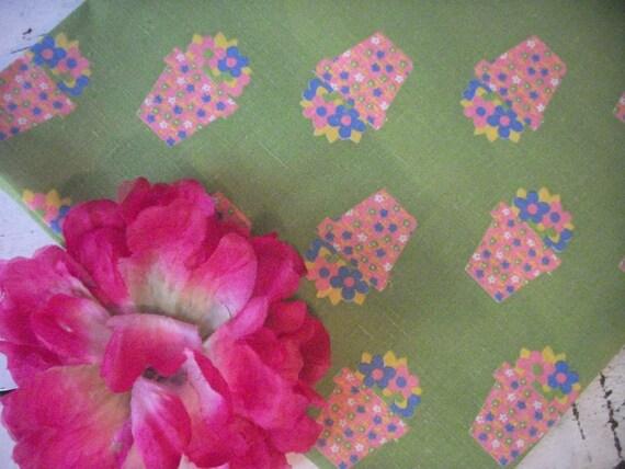 Retro Fabric - Pots of Flowers