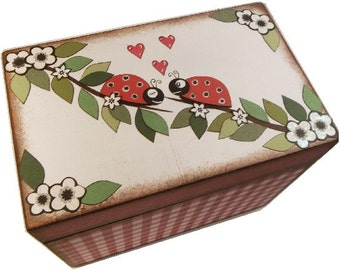Recipe Box Decoupaged This Ladybug Box is Large and Handcrafted Holds 4x6 Recipe Cards  MADE To ORDER
