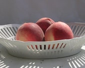 Bavarian Porcelain Fruit/Bread Floral Pierced Basket