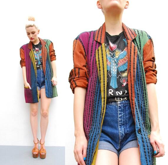 80s 90s Blazker Jacket - Oversized Color Block Slouchy Boyfriend Jacket - 1980s Jewel Tone Striped Blazer Jacket - S M 4 6 8 10