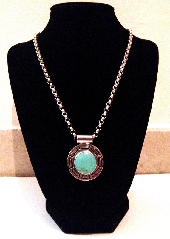SALE... Large Rare Mexico Stunning Vintage Turquoise Sterling Silver 925 Pendant/Necklace