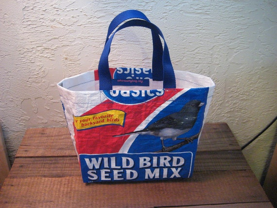 Recycled / Upcycled Reusable Small Bird Food Lunch Tote Bag Purse - Free shipping to USA