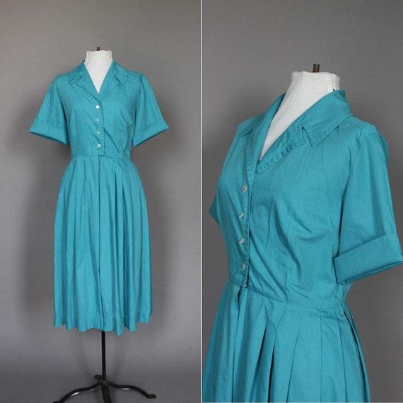 60s Dress Vintage Blue Day Dress 1960s Shirtwaist Full Skirt L
