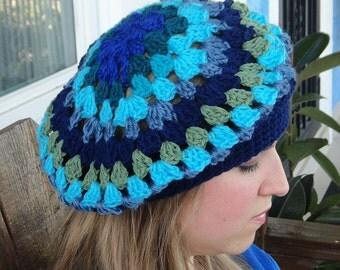 Handmade Crochet Beret, Blues and Greens Assorted Hat, Slight Slouchy Beret B-3