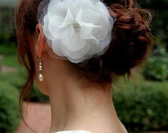 Vera-Organza and Tulle Hair Flower with Rhinestones