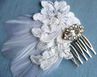 Eleanor-Feather bridal hairpiece with vintage lace and a rhinestone brooch